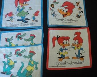 Vintage Walter Lantz 1984 set of five children's cotton printed handkerchiefs (03155)