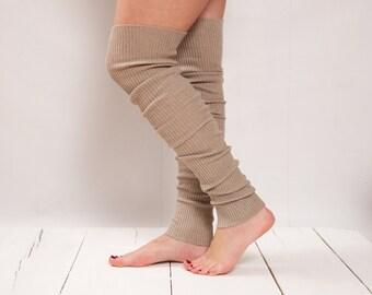 Leg Warmers Knit Natural Tan Leg Warmers Boot Socks Knit Knee Socks Knee High Socks Knee Socks Thigh High Socks