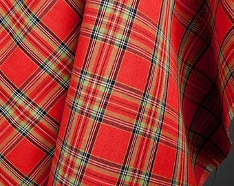 Plaid linen-cotton fabrics in red /Christmas linen-cotton fabrics by the half-metres