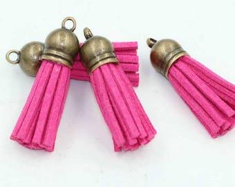 Pink Pompom hot pink 38 mm bronze suedine