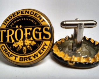Black & Yellow Troegs Upcycled Beer Bottle Cap Cufflinks