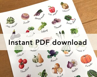 Pdf file of vegetables sticker sheet, for home printing. For circular stickers on A4 and US letter.