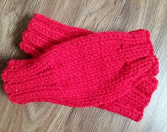 Fingerless Gloves, Red, Wrist Warmers, Gift for Mother's Day, Teacher, Friend, Family, Neighbor, Free Shipping thru May 31 2018!!!