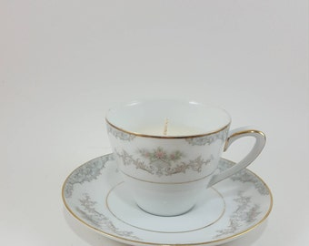 Eco Soy Candle Vintage Teacup and Saucer