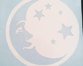 Moon and Stars Vinyl Decal, Custom Decal
