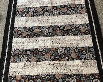 "Modern flowers couch or lap quilt 63"" x 47""  free shipping"