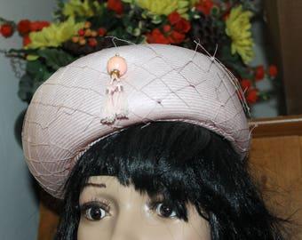 Vintage Pill Box Hat, Pink with Decorations, Good Vintage Condition, w Tassels Miss Eileen Originals Size 22?
