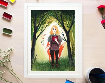 Woodland Magic Illustrated Fox Print by Emmeline Pidgen Illustration