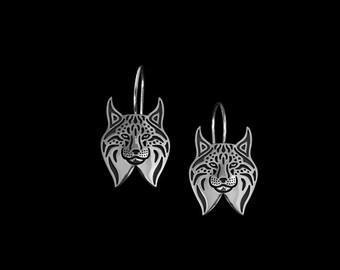 Boucles d'oreilles de Lynx - en argent sterling