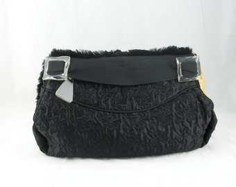 Vintage 40s Fur Muff Purse Embroidered with lucite buckles n pull in a large size