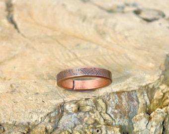 9 3/4 plus, Copper Ring, Arthritis Ring, Copper Jewelry, Adjustable Ring, Mens copper Ring - Womens copper Ring - Rustic copper Ring - USA