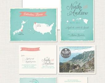 Destination wedding USA Japan Hawaii bilingual illustrated wedding invitation RSVP Aqua coral International wedding beach Deposit payment