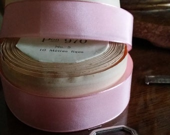 "1"" Vintage Swiss woven edge Rayon Ribbon Pretty Pink"