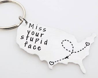State Keychain, Long Distance Gift, Moving Away gift, Going Away, Gift for Boyfriend, Gift for Girlfriend, United States, Long distance love