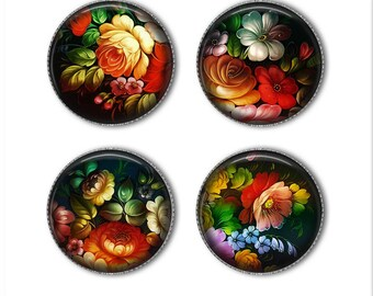 Zhostovo Russian Folk Art magnets or pins, Russian flowers, refrigerator magnets, fridge magnets, office magnets (2)