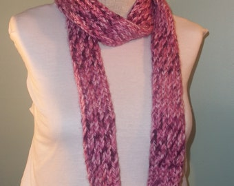 Purple and White Infinity Scarf, Knit Loop Scarf, Womans Circle Scarf, Neckwarmer, Teens Infinity Scarf, Purple Loop Scarf - Ready to Ship