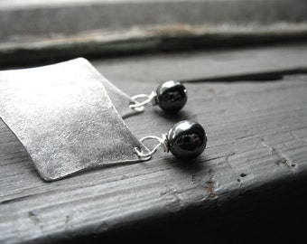 Hematite Earrings, Hematite Stone Earrings, Handmade Metalwork Black Hematite Dangle Drop Earrings, Jewelry