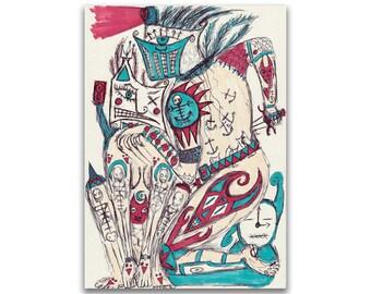 "ORIGINAL Pen & Ink Marker Drawing (Unframed) - ""Role Play"""