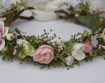 Pink, Green & Ivory Flower Crown - Bridal Floral Crown - Pink Flower Girl Crown- Hair Wreath - Photo Prop - Garden Wedding Floral Crown