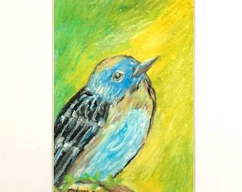 Original nature wall art/bird art for nursery/original artwork/original bird art/small artwork/bird art print/nursery wall art/blue bird