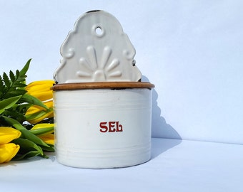 French vintage enamel salt container / wall hanging enamel container / french countryside shabby cottage