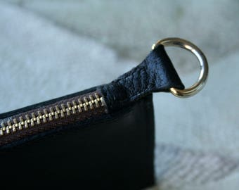 NEW! Black Genuine Leather  Pencil Box With Zipper Closure & D Ring 25.5 x 8 x 1 cm Hand Made