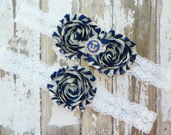 Nautical Wedding Garters, Anchor Wedding Garters, Beach Wedding, Destination Wedding, Something Blue, Bridal Shower, Blue Stripe Garters