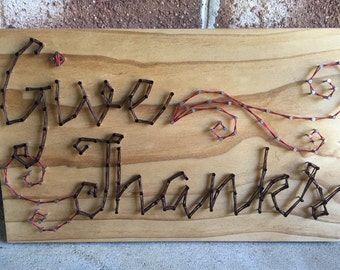 Give Thanks, Fall Decor, Thanksgiving Holiday Decor String Art Wood Sign