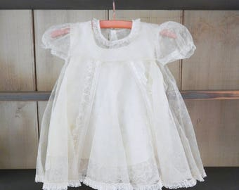 Antique Vintage White Baby Girl Dress With Slip - Tulle With Snowflake Design & Lace Details - Christening Wedding