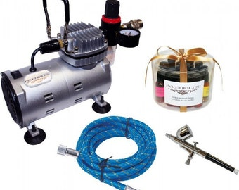 Inkedibles Heavy Duty Edible AirBrush Ink System (with compressor, airbrush, and complete set of 17 x Inkedibles AirBrush Inks / Aircolors™)