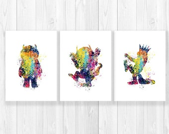 where the wild things are nursery wall art,nursery prints, max wild rumpus,baby shower gift,wild things,max wild things,monster nursery,ET85