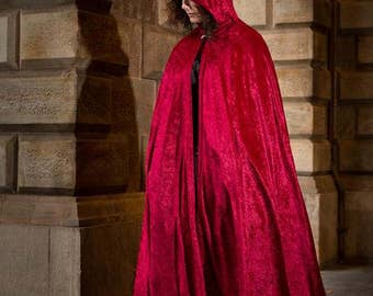 Red velvet cloak - full oval - YOUR LENGTH 3INzp