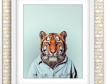 Tiger man print, Tiger Print, Tiger printable, Tiger poster, Tiger art, Tiger wall art, Printable Tiger, Animal Wall Art, Animals printable