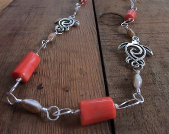 Coral bamboo and natural shell necklace with pewter turtle accents  in silver non tarnish wire , 28 inches