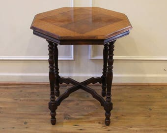 Captivating Antique Octagonal Side,End Table With Inlaid Top, American C.1920