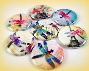 Paris Dragonfly Pins, Magnets or Flatback Buttons, 1 or 2.25 inch avaiable