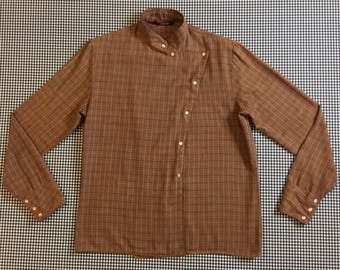 1980's, asymmetrical, snap front, banded collar, blouse, in brown plaid, Women's size Small/Medium