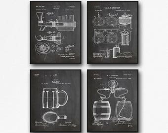 Craft Beer Poster Set of Beer Patent Posters Beer Lover Gift Beer Decor for Bar Decor for Pub Craft Beer Prints Brewing Posters WB133A