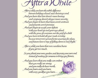 After A While 11x14 Calligraphy Print, inspirational quote, wall art, love poem