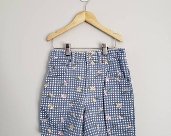 Vintage High Waisted Gingham and Floral Denim Shorts for Girls Kids Size 7
