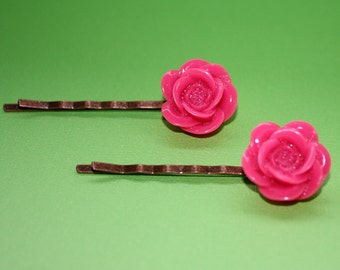 Bright Pink Flower Bobby Pins - Acrylic Floral Cabochon Hair Pins