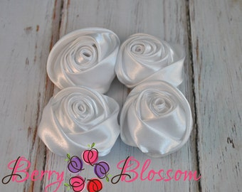 "White Satin Rosette - 2"" inch size - satin rose flowers - rolled soft rosette - Set of 4 or 8 pieces"