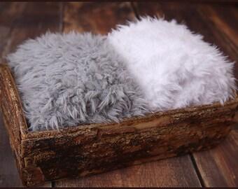 Faux Fur Newborn Photo Prop * super soft basket filler stuffer and bean bag covering * grey and white * flokati alternative