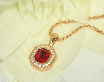 Vintage SAL Swarovski Ruby Red and White Crystal Rhinestone Pendant, Gold Tone, Chain Necklace
