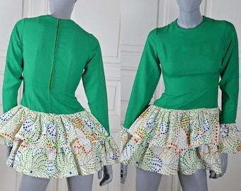 1960s Mini Dress, Dutch Vintage Green Micro Mini with Polka Dot Cuffs and Ruffled Layered Skirt: 4/6 (US), Size 8/10 (UK)