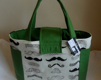 Large Where's My Stache Mustache Diaper Bag Tote YOU CHOOSE ACCENT