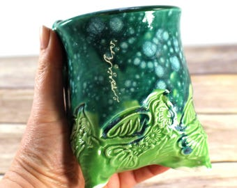Spunky Eclectic Pottery - Tripod cup - Envy Green Bird - SALE