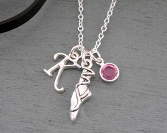 Ballet Slipper Necklace, Personalized Ballet Necklace, Ballet Gifts, Letter Birthstone, Ballet Slipper Jewelry, Silver Ballerina Necklace