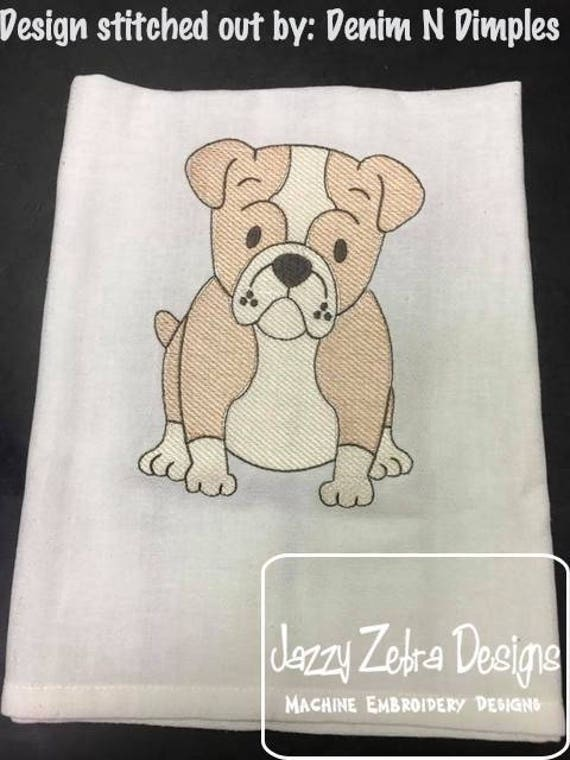 Bull Dog sketch embroidery design - dog sketch embroidery design - dog embroidery design - Bull Dog embroidery design - puppy embroidery