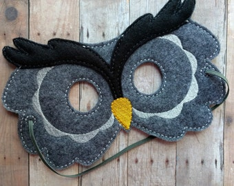 Owl Felt Mask, Elastic Back, Dark Gray and Black Acrylic Felt with Embroidery, Made in USA, Cosplay, Costume, Photo Booth Prop